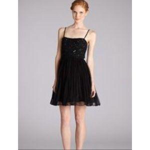 Aidan Mattox Beaded Bodice Fit & Flare Tulle Dress